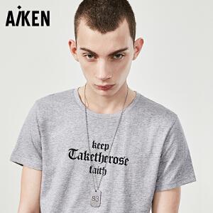 Aiken短袖T恤男士2017夏新款白色圆领纯棉半袖体恤修身潮哥特字母