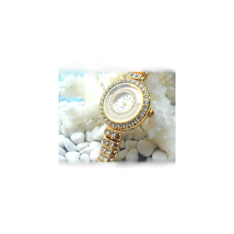 奢华水晶系列 金色沙子时尚i造型手表(赠电池)