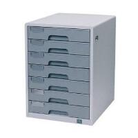 得力办公文件柜9703 桌面资料整理收纳柜 金属外壳抽屉柜 7层带锁