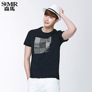 森马短袖T恤 夏装 男士圆领图案印花男装针织衫韩版潮款