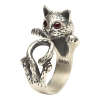 戴和美 包邮 精美雕刻女款萌猫S990戒指均码可调节