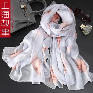 上海故事春季新款100%真丝丝巾女士春秋防晒=百变沙滩巾桑蚕丝披肩纱巾