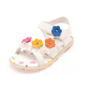 鞋柜2016夏季新款雪纺花边花朵平跟魔术贴童鞋凉鞋