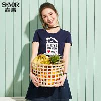 森马短袖T恤女 2017夏季新款 女士纯棉圆领T趣味印花打底衫上衣潮