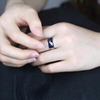 相思树 男士戒指个性霸气食指环女 日韩版单身复古人工红宝石尾戒子钛钢潮饰品