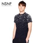 NSNF纯棉墨点印花黑色短袖T恤 2017年春夏新款