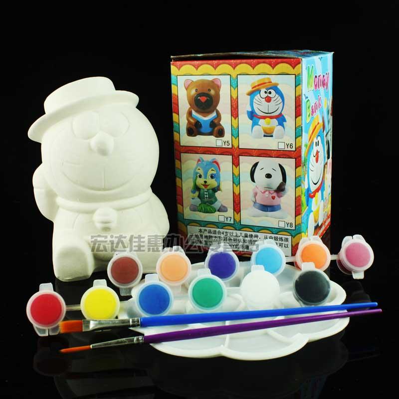 陶瓷白坯手工填色涂鸦上色儿童学生涂色陶瓷彩绘娃娃白胚动物卡通白坯