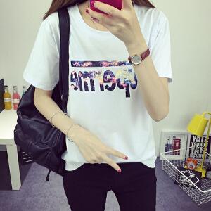 波柏龙 女夏季短袖体恤宽松半袖上衣服韩版学生装打底衫大码T恤