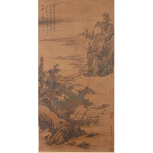 1499      马达《归舟访友图》    王文治提拔,多位名家收藏章
