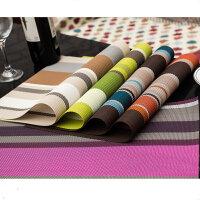 彩色条纹PVC特斯林餐垫 酒店餐垫 餐厅餐垫 绿色