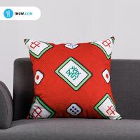 「玩闹智造」原创手绘艺术插画《 I LOVE MAHJONG》创意抱枕办公室沙发靠垫包邮
