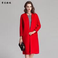 秋冬女士长款九分袖羊毛大衣时尚优雅呢大衣外套女装M-616315
