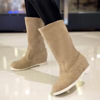 彼艾2016秋冬季新款平底大码中筒雪地靴女靴 韩版内增高厚底靴子女单靴棉靴