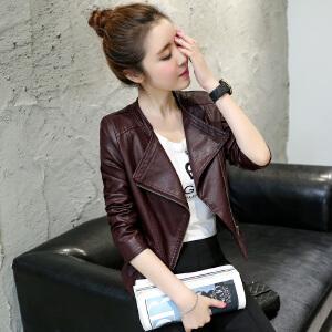 香衣宠儿 2016女装秋款时尚皮衣外套 气质休闲皮夹克 修身短款皮衣外套 2038-2213