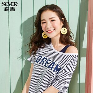 森马短袖T恤女2017夏装新款上衣圆领宽松甜美条纹体恤两件套装潮