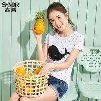 森马短袖T恤女2017夏装新款半袖上衣印花韩版甜美拼接学生体恤潮