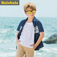 【6.26巴拉巴拉超级品牌日】巴拉巴拉男童衬衫短袖中大童上衣童装夏装儿童学生衬衣男