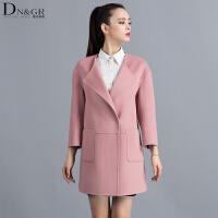秋冬女士中长款外套翻领时尚修身双面羊毛大衣C16010
