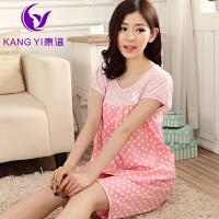 香港康谊 春夏装 纯棉 女短袖套装家居服 睡衣休闲可爱温馨家居风
