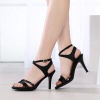 GEMEIQ/戈美其夏季新品时装凉鞋浅口露趾后绑带水钻女鞋