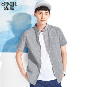 森马短袖衬衫 夏装 男士休闲翻领条纹纯棉直筒衬衣韩版潮