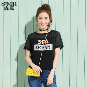 森马短袖T恤女2017夏装新款半袖上衣运动韩版学生百搭休闲字母潮