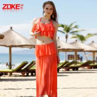 新款洲克裙式分体泳衣女大小胸性感显瘦游泳衣三件套
