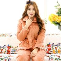 雪俐睡衣女冬夹棉加厚长袖家居服女士纯色花纹图案套装