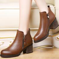莫蕾蔻蕾 女鞋2016秋季新品马丁靴潮女短靴圆头粗跟短筒女靴6D530