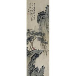 """溥心畲 已逝现代国画大师,与张大千并称""""南张北溥"""" 《山水》(老装老裱)"""