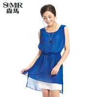 森马夏装新款连衣裙韩版女装圆领雪纺裙显瘦抽绳裙子两件套潮