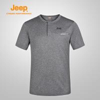 【全场2.5折起】Jeep/吉普 2017夏季男士户外舒适透气速干排汗T恤J671011528