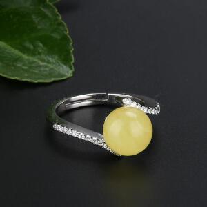 戴和美 精选天然琥珀蜜蜡S925银镶蜜蜡圆珠时尚戒指(附鉴定证书)