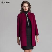 秋冬女士新款立领九分袖中长款外套时尚双面羊毛呢大衣女装M-616326