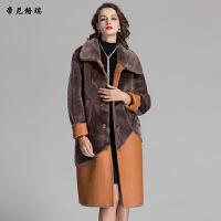 冬季新款羊剪绒皮草外套时尚方领两面穿皮毛一体女