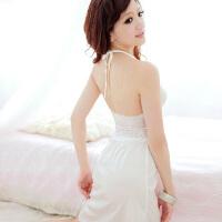 蕾丝吊带睡裙 铃兰花亭065白色透明诱惑内衣 女 夏季挂脖性感睡衣