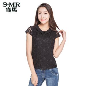 森马夏装新款短袖衬衫夏季女装韩版净色翻领雪纺蕾丝花纹上衣