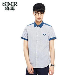 森马男装夏装新款短袖衬衫 男士时尚休闲衬衣 韩版薄款上衣清新潮