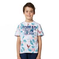 探路者童装 男童风格系列满印圆领短袖T恤
