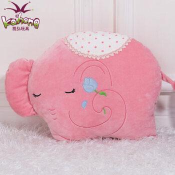 大象暖手捂 抱枕 腰靠垫 毛绒手捂 创意暖手筒暖手袋 午睡枕头_绣花象