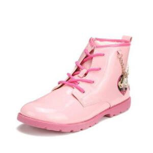 鞋柜SHOEBOX冬款女童粉色卡通图案可爱靴子