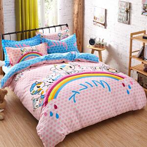 OLYI 纯棉床上用品四件套 全棉斜纹活性印花床单式家纺四件套 牛乳战士床品四件套 床上四件套