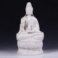 尚帝陶瓷礼品 工艺摆件 纯手工工艺品 坐莲观音像陶瓷摆件JH5KG-zlgy170
