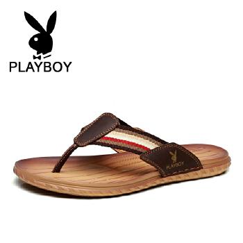 花花公子 男鞋男士人字拖男鞋休闲夹拖皮凉拖沙滩鞋拖鞋男 德 CX39512