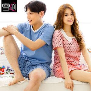 雪俐情侣睡衣家居服男女韩版短袖短裤夏季居家服套装