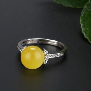 戴和美 精选天然琥珀蜜蜡S925银镶嵌蜜蜡圆珠戒指(附鉴定证书)均码可调节