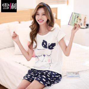 雪俐2017夏季短袖短裤女士纯棉睡衣可爱猫咪休闲图案家居服套装