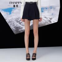 【海贝超级品牌日 买三免一再满减】【11月22日上新】海贝冬季新款女装休闲裤 甜美气质宽毛呢短裤