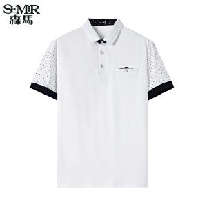 森马短袖T恤 夏装 男士运动翻领波点直筒Polo衫韩版潮男