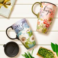 Evergreen爱屋格林马克杯 创意水杯子带盖大容量咖啡杯车载陶瓷杯